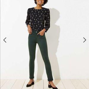 Loft Double Frayed Skinny Crop Jeans